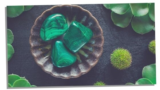 bowl with Malachite crystals in