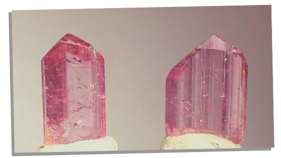 Picture of 2 Pink topaz crystals