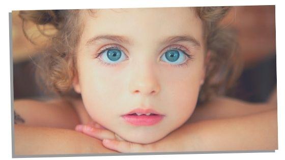 diamond child with big blue eyes