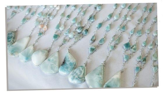 Larimar stone used in everyday life as jewellery.