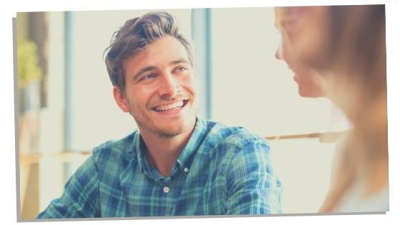 Introvert smiling at friend