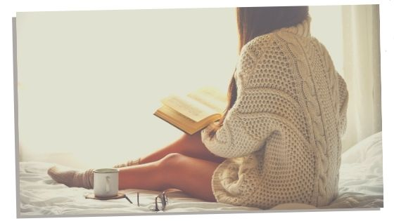 Introvert woman reading a book