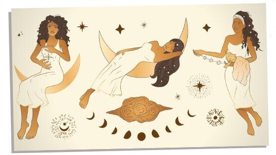 multiple images of divine feminine energy
