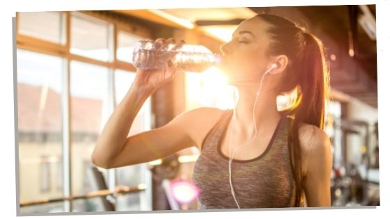 woman drinking water