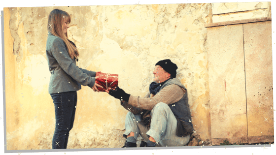 a beta female being kind and giving a gift