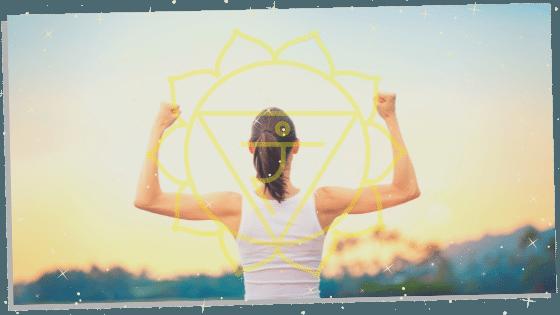 woman with with solar plexus chakra symbol
