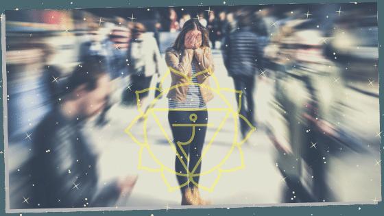 solar plexus chakra symbol over a woman