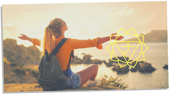 woman with the solar plexus chakra symbol next to her