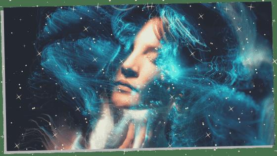blue aura with a female face