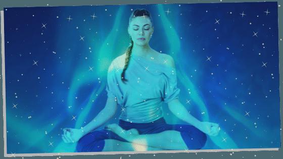 woman with a blue aura